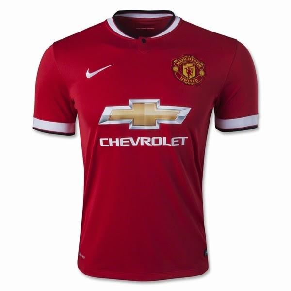 The football kit room 2014 15 manchester united home away for Manchester united shirt sponsor