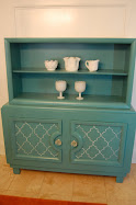 Hand-painted turquoise hutch