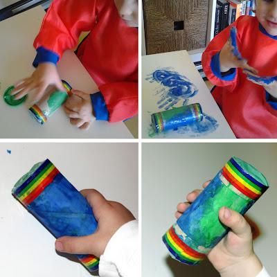 Ana pintando las maracas y resultado final