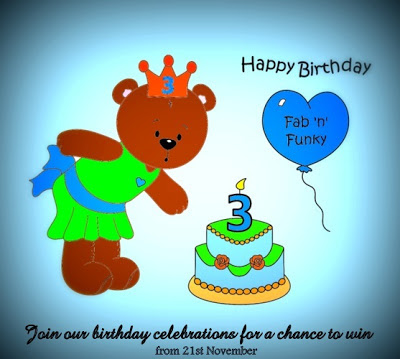Our 3rd Birthday celebration with fabulous prizes to be won starts 21st November 2012