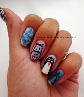 madagascar nails nail art penguin hippo giraffe