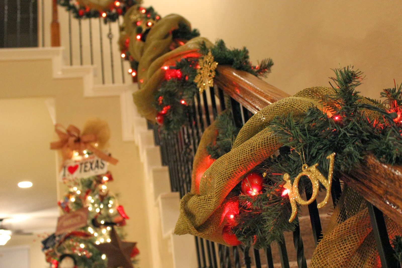 stair details ornaments from dollar tree garland from hobby lobby burlap fabric from paul michaels - Hobby Lobby Christmas Eve Hours