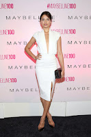 Shanina Shaik in a plunging white dress at Maybelline New York's 100 Year Anniversary