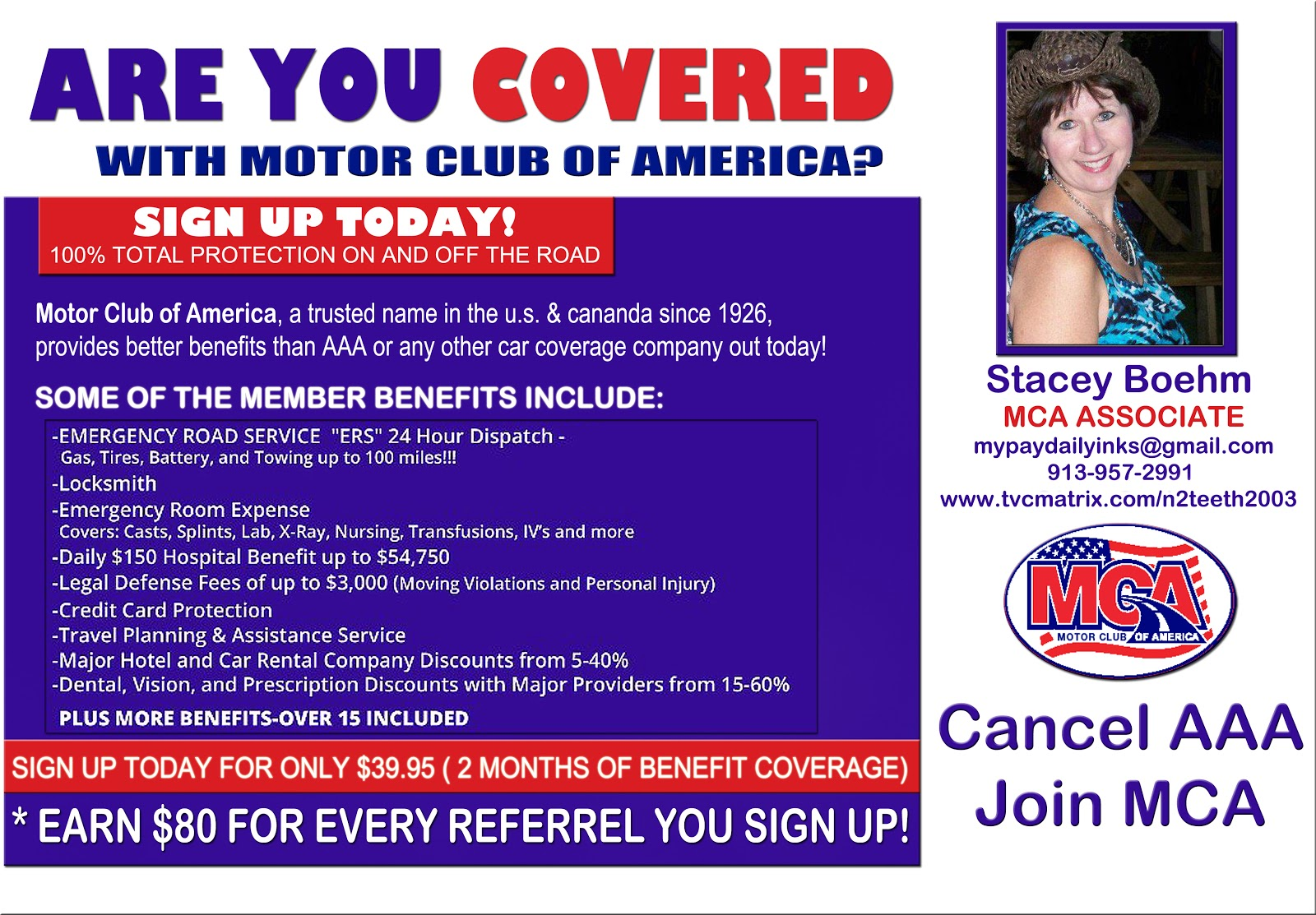 Protect you and your family with motor club of america for American traveler motor club