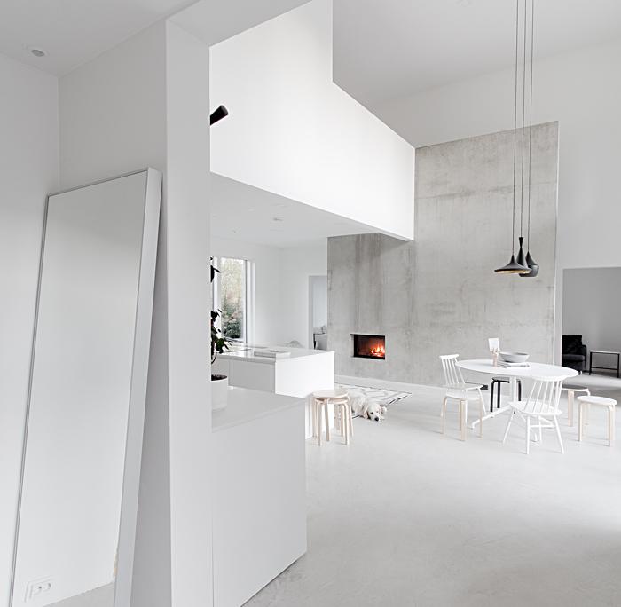 blanco, cemento, minimalista, diseño, nórdico, escandinavo, moderno, dekoloop, cocina, chimenea