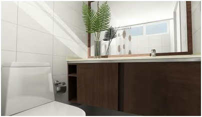 TOILET AND CABINETS IN A MODERN BATHROOM DESIGN AND DECORATING IDEAS