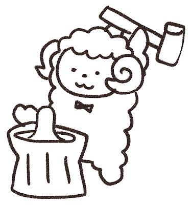 餅つきをしている羊のイラスト(未年) モノクロ線画
