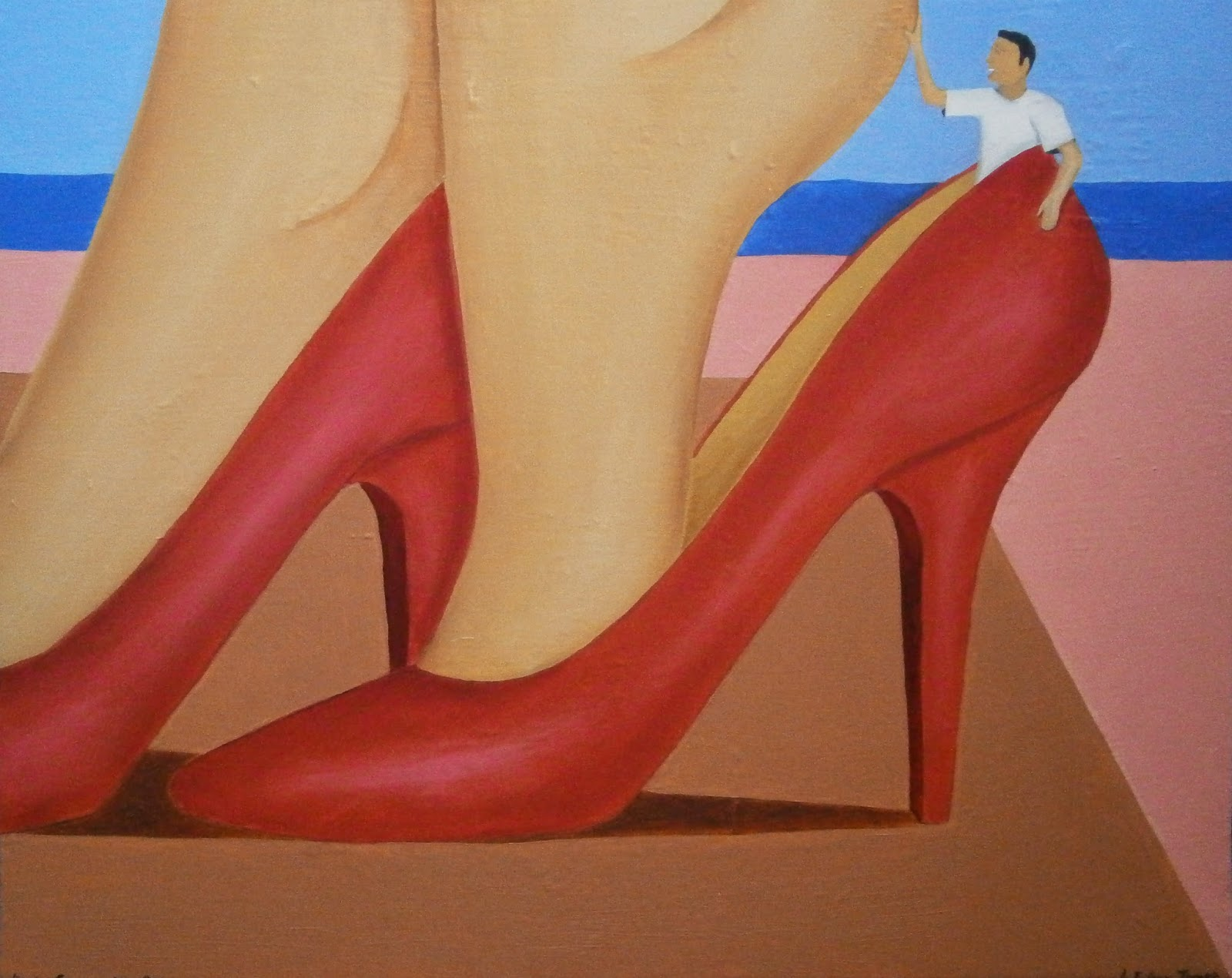 A woman putting on her red high heels with a little man caught inside