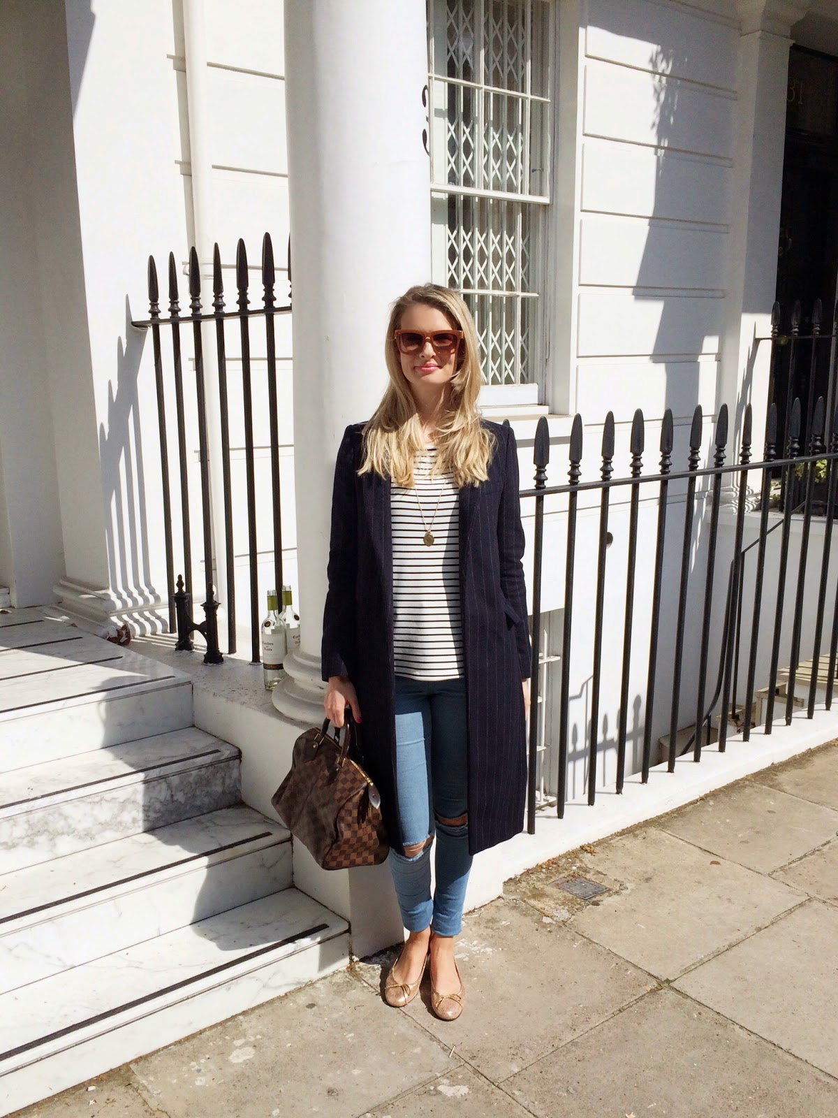 blue long coat, pinstriped long coat, striped jumper, breton top, louis vuitton, louis vuitton speedy, louis vuitton speedy bag, french sole shoes, french sole ballet flats, zara sunglasses, celine look a like sunglasses