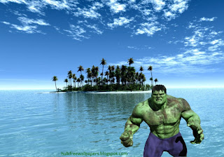 Desktop Wallpaper of The Incredible Hulk Fighting Monster in Paradise Island Landscape wallpaper