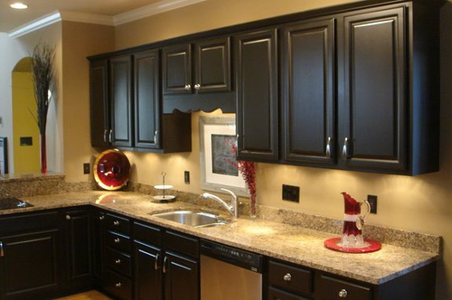 Kitchen trends how to paint kitchen cabinets black for Painting kitchen cabinets black