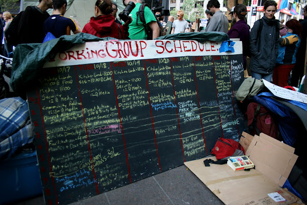 Occupy Wall Street schedule board