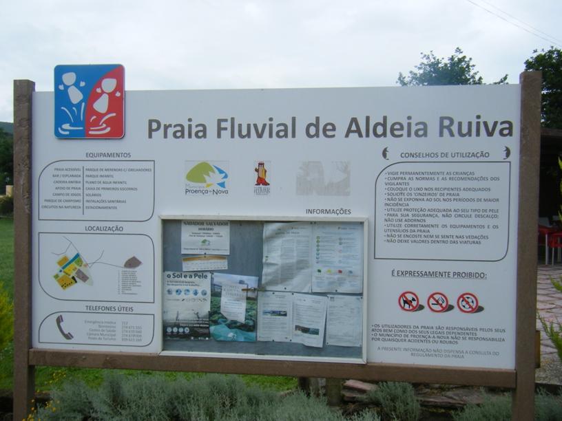 Praia Fluvial de Aldeia Ruiva - Placa de Remomendações