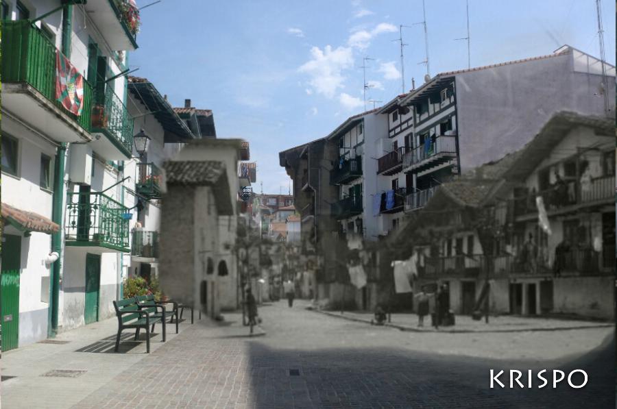 Montaje de foto antigua y actual de la calle Santiago de Hondarribia