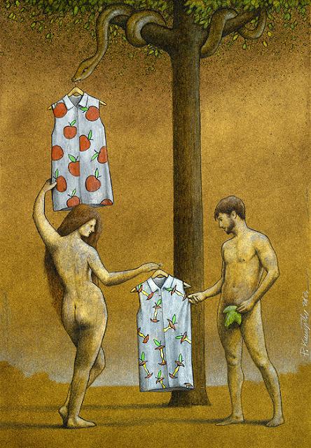 Ilustración que critica la moda