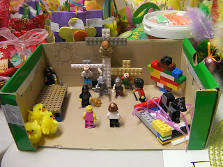lego nativity scene with animals guards jesus