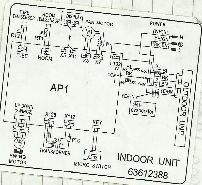 wiring diagram of split type aircon carrier