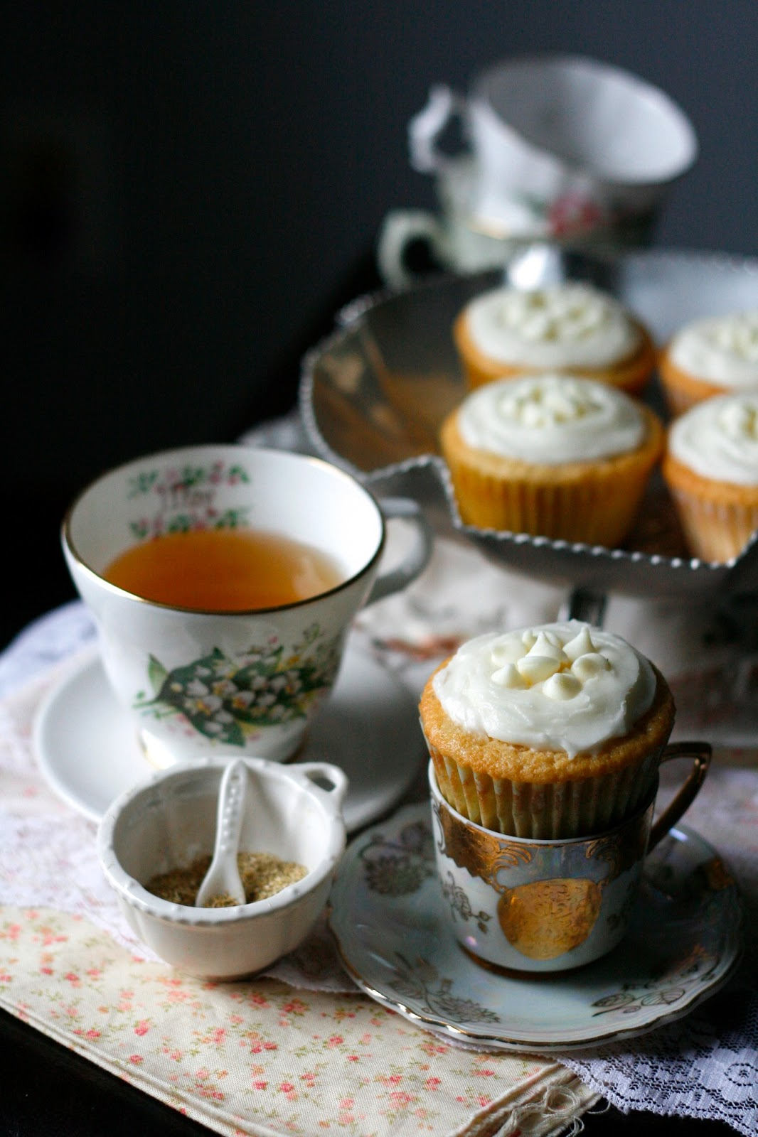 Indigo Scones: White Chocolate Honey Chamomile Cupcakes