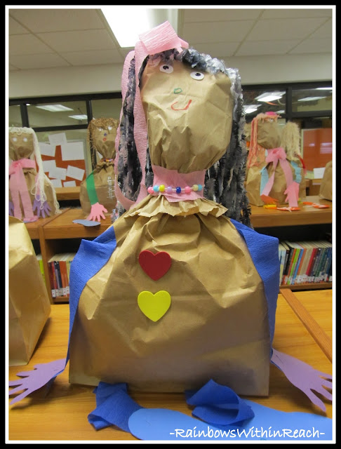 photo of: Self Portrait Sculpture in Preschool from Paper Bags