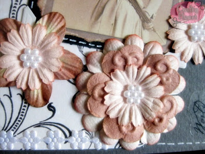 Vintage Women Themed Postcard - Layered mulberry flowers and pearls