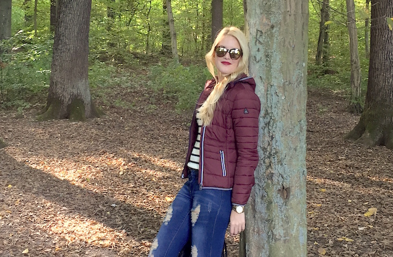 TheBlondeLion Outfit Fashion Functional Look Autumn Steppjacke Marine Shirt Streifen Gaastra