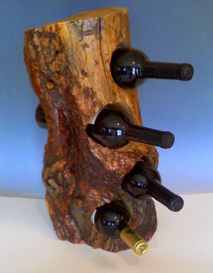 Dishfunctional designs upcycled unique wine racks for Upcycled tree stumps
