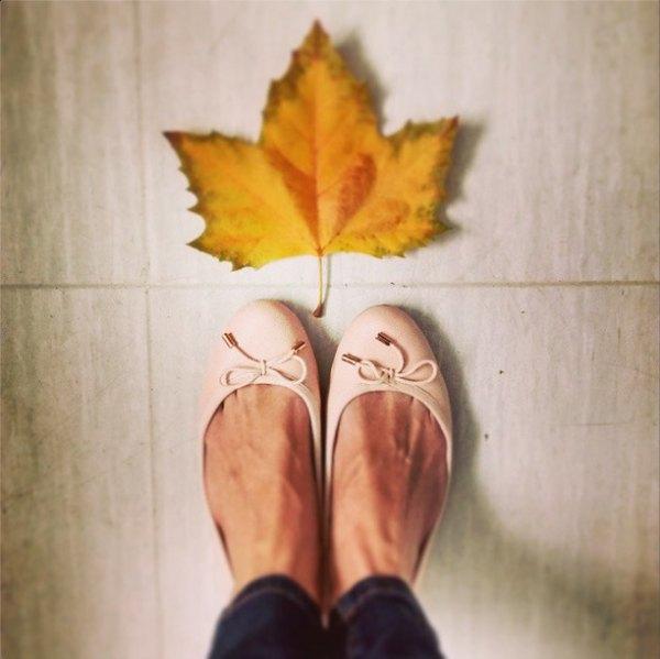 Bailarinas con hojas de otoño