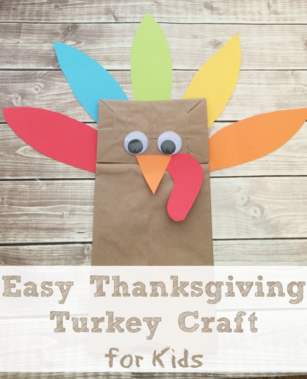 Life with 4 boys easy brown bag turkey thankgiving craft for Brown paper bag crafts for preschoolers