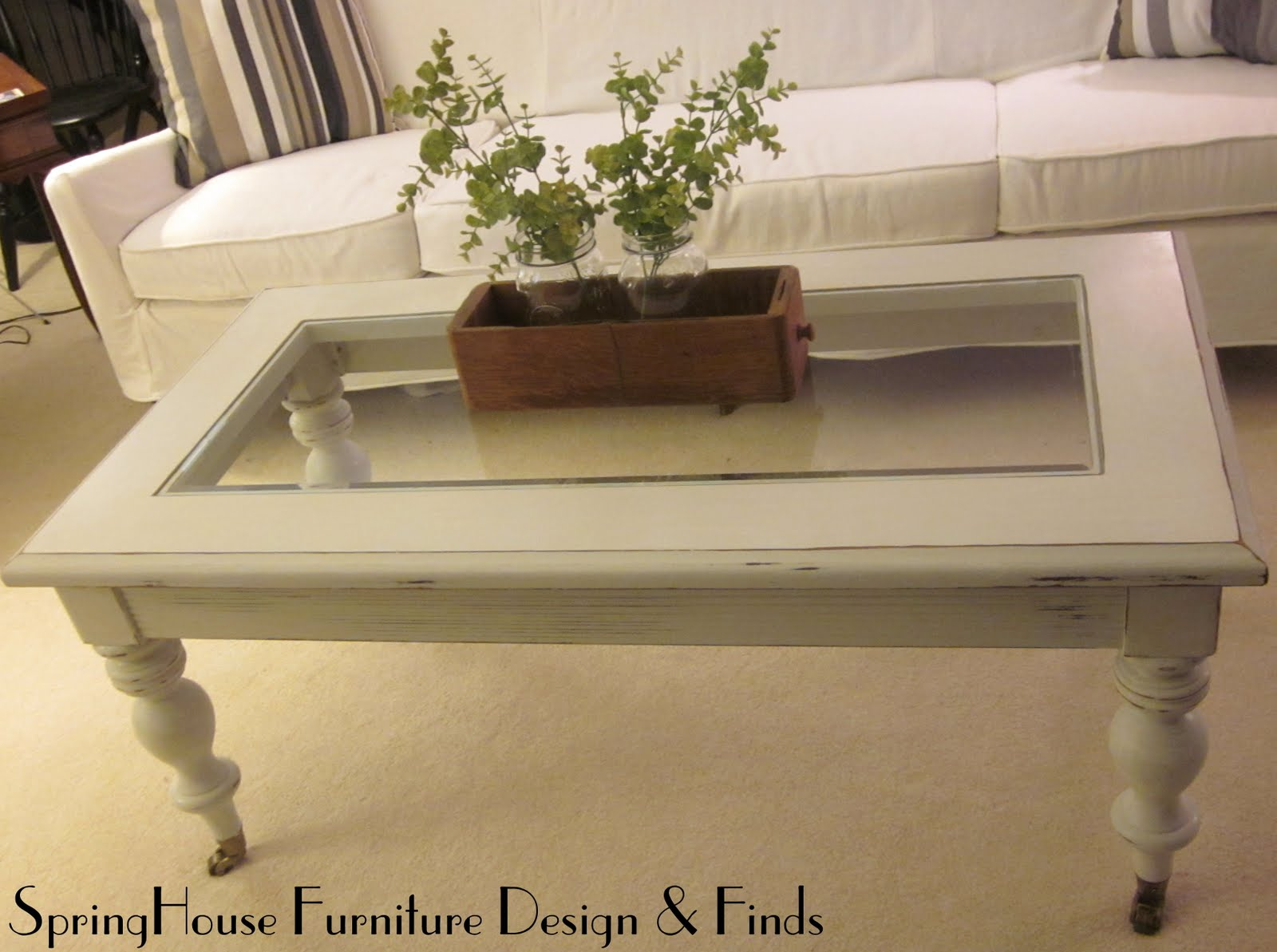 Springhouse Furniture Design Finds White Glass Top Coffee Table