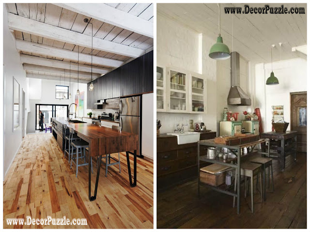 industrial kitchen style, industrial chic decor furniture with wood flooring