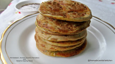Aehobakjeon  (Korean Zucchini Pancakes) with Sesame Dipping Sauce