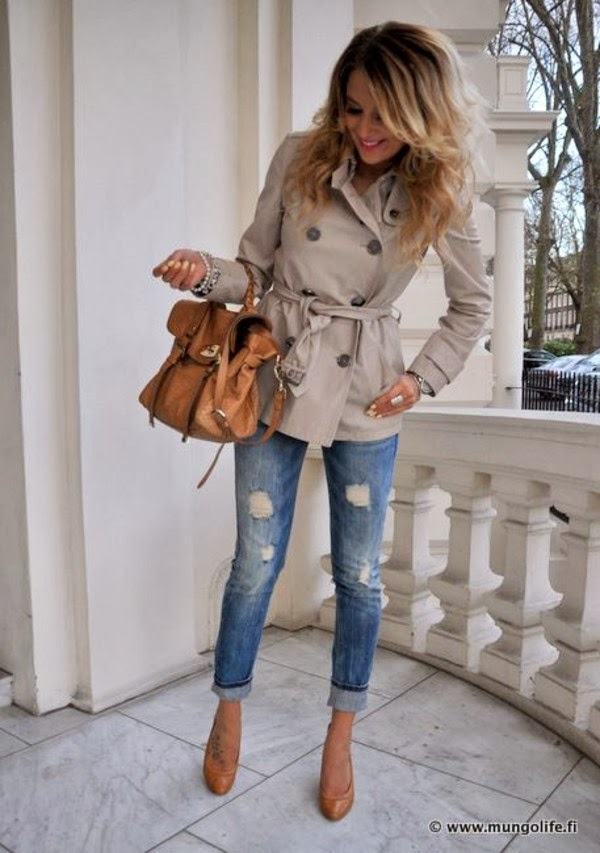 Attractive Torn Jeans with Beige Stylish Coat, Brown Heeled Shoes, Modern Handbag and Accessories