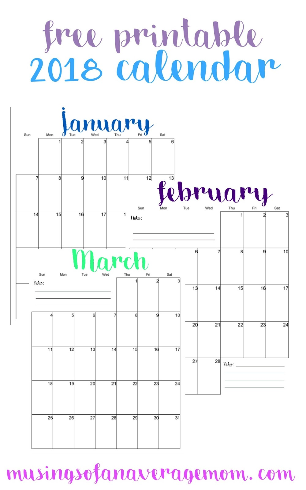 Musings of an Average Mom: 2018 coloured vertical calendar