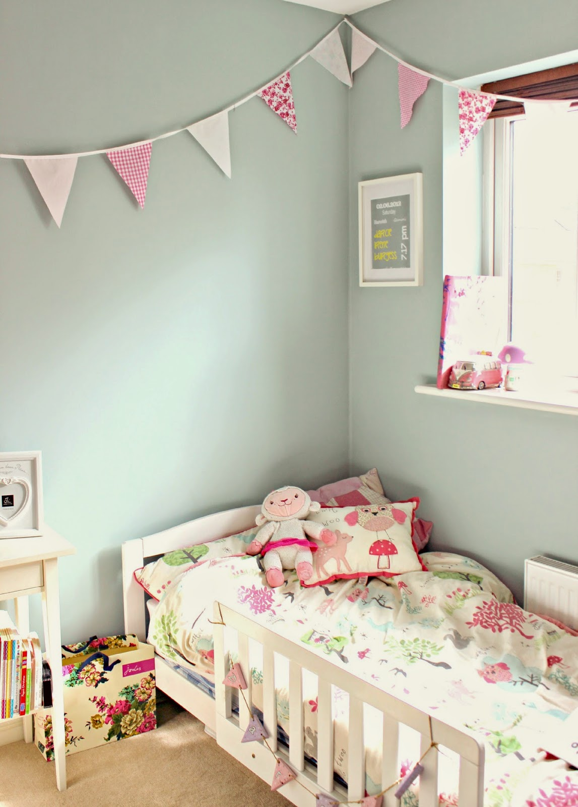 blue and pink toddler room
