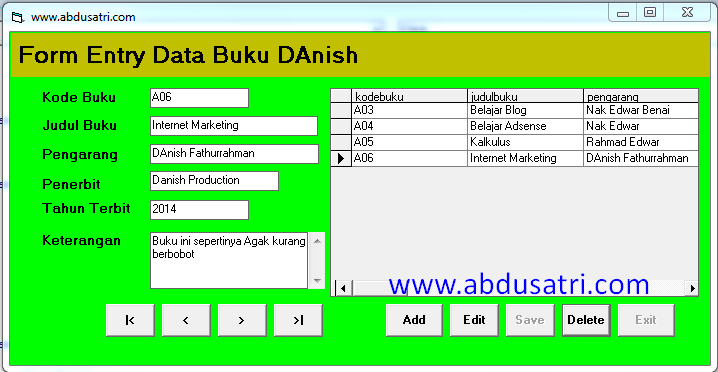 contoh program VB data buku