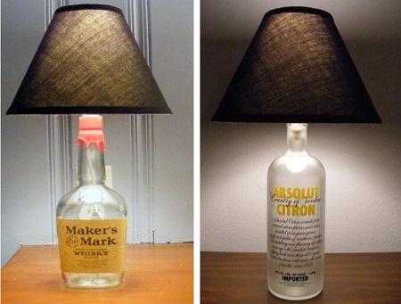 L mparas con botellas de vidrio reutilizadas - Lamparas hechas con botellas ...