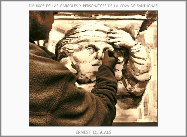 COVA-SANT IGNASI-MANRESA-ART-DIBUIXOS-GARGOLES-PERSONATGES-DIBUIX-ARTISTA-PINTOR-ERNEST DESCALS-