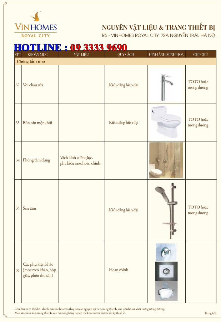 Bảng nguyên vật liệu căn hộ hạng sang Royal City R6 - Trang 6