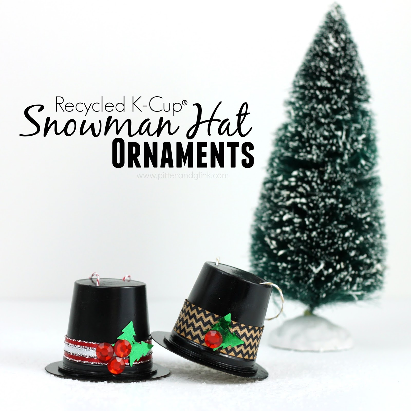 Recycled K-Cup Snowman Hat Ornaments pitterandglink.com