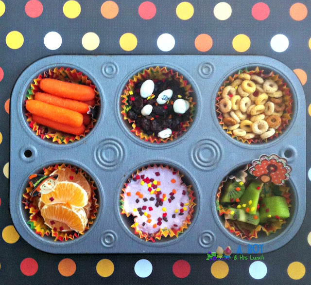 Thanksgiving themed muffin tin meal! So cute!