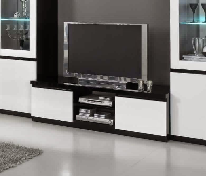 Meuble tv noir et blanc meuble tv for Meuble tv blanc et noir