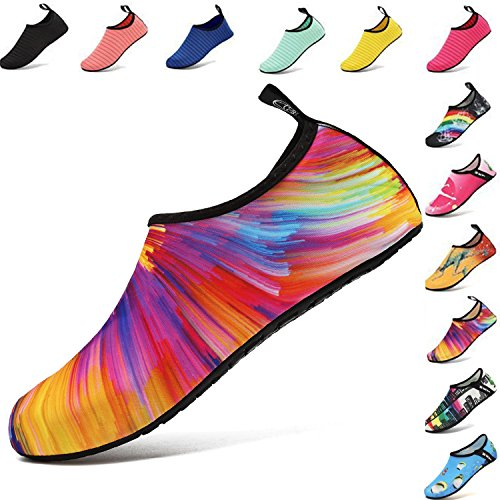 b24c1541f906 VIFUUR Water Sports Shoes Barefoot Quick-Dry Aqua Yoga Socks Slip-on for  Men Women Kids Colorful-38 39 2019