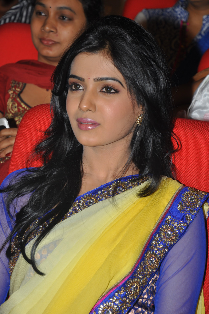samantha saree at dookudu audio launch, samantha spicy saree cute stills