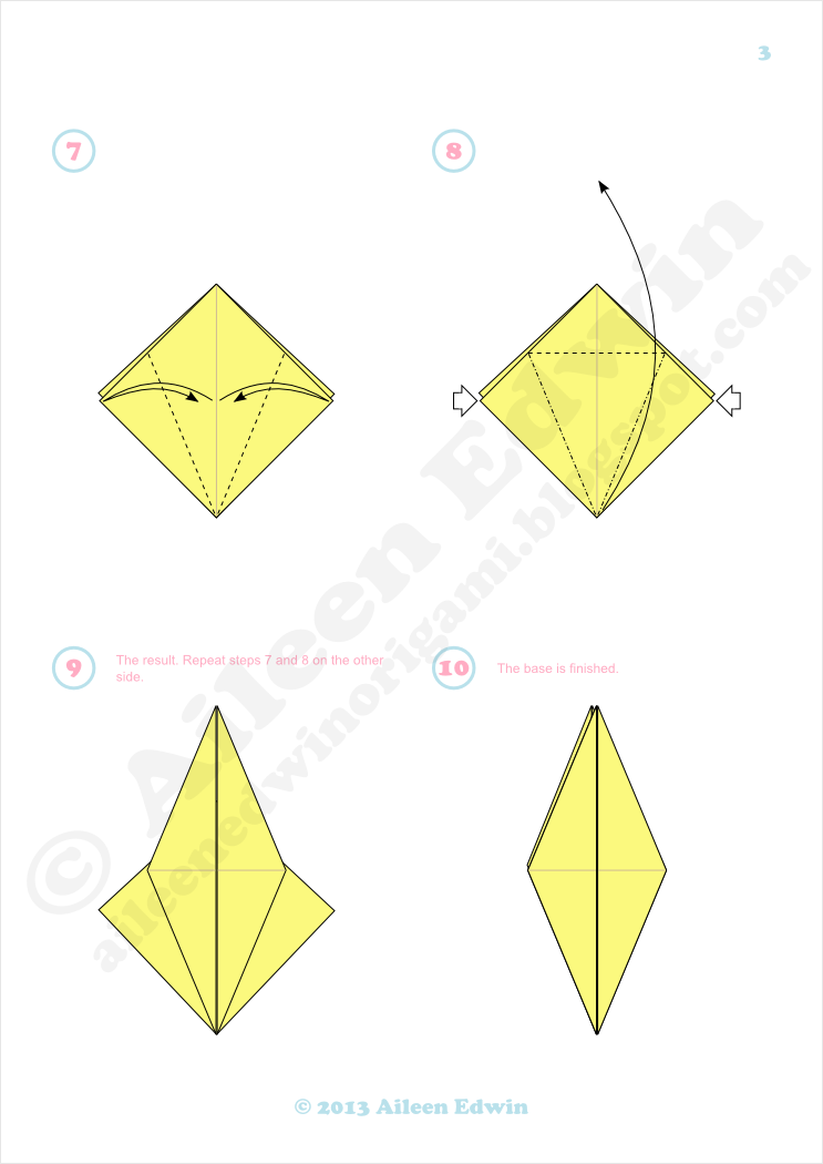 Origami bird base diagrams