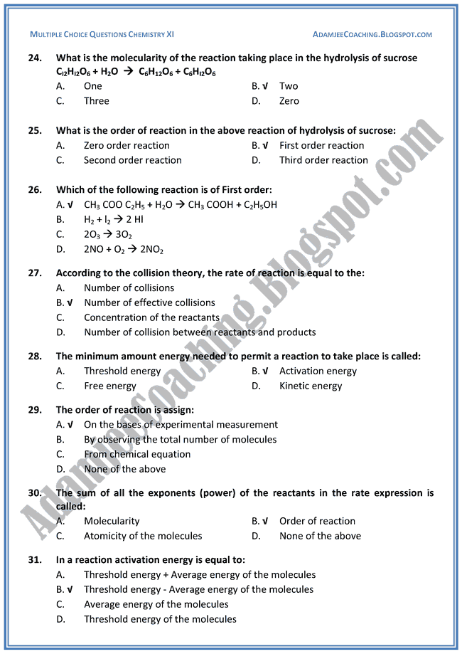 XI Chemistry MCQs - Introduction To Chemical Kinetics