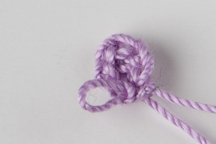 Crochet Tutorial Hair : Ch 2, dc into the 1st ch of the flower, ch 2, sl st into the 1st ch ...