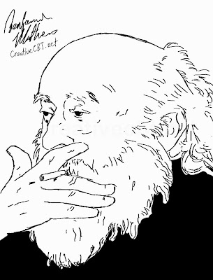 Drawing of Fritz Perls - Founder of Gestalt Therapy