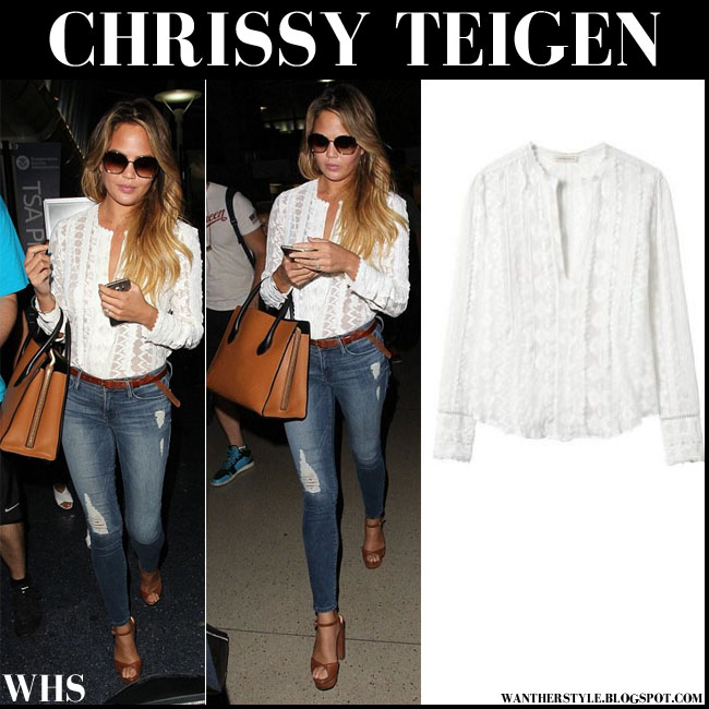 Chrissy Teigen in white embroidered long sleeve blouse Rebecca Taylor what she wore