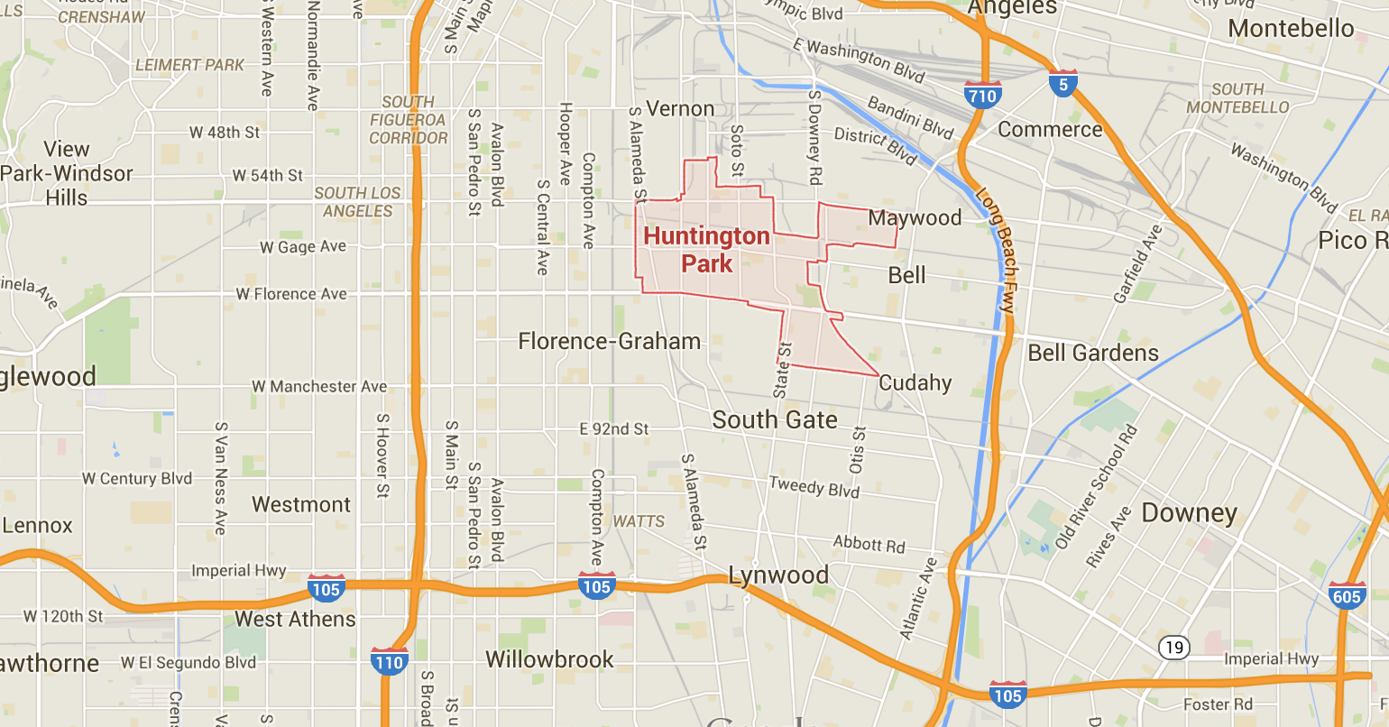 the huntington park website states that in it s population of over 61 000 2 7 of residents are white and 95 are hispanic the average household income is