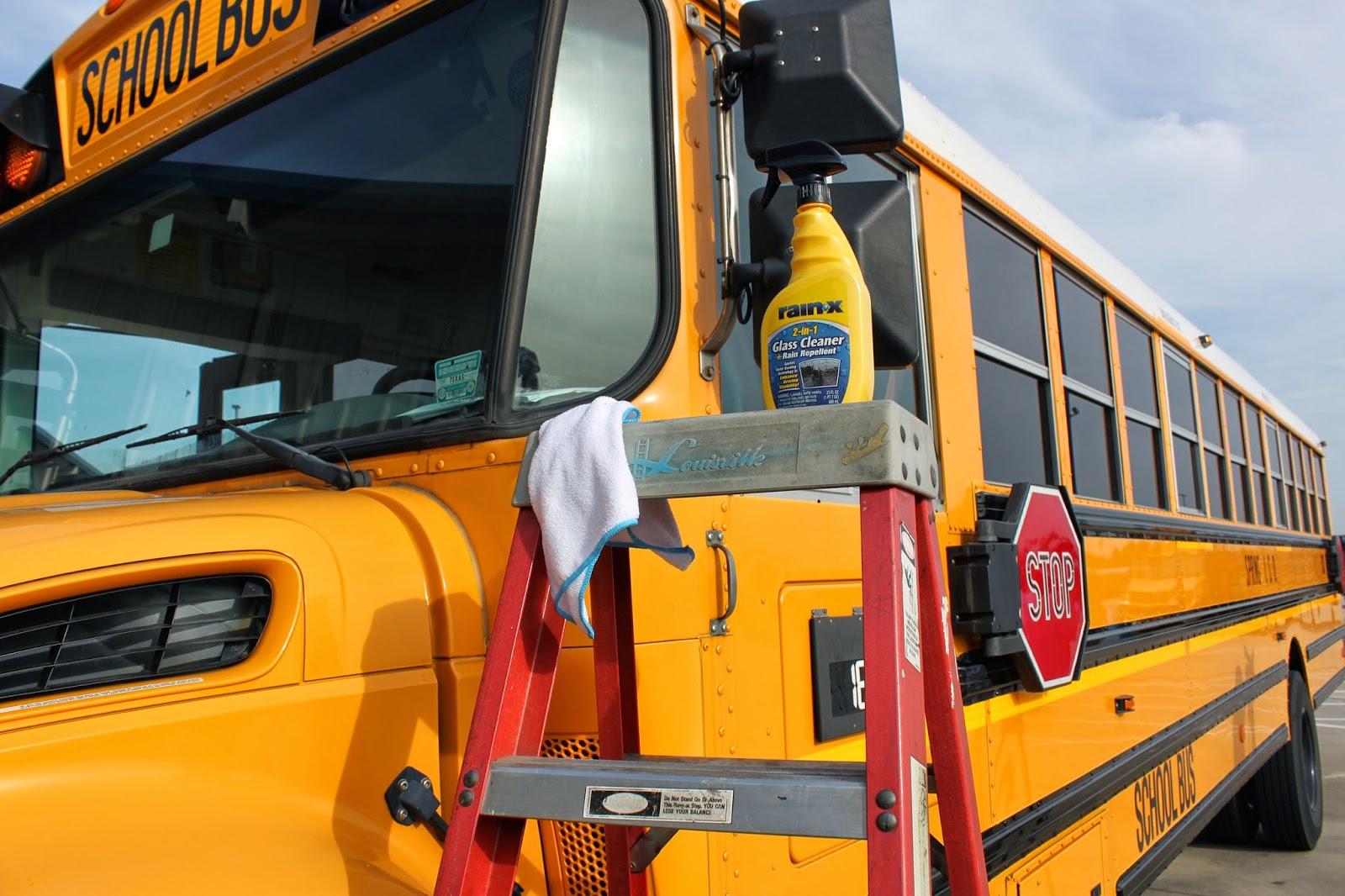 Rain-X on school bus